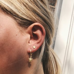 little miss turtle hoop- superstar studs oorbel goud