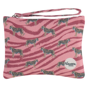 go get 'm tiger coral pink clutch small