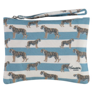 tigers & stripes bluish grey clutch