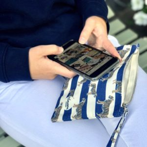 tigers & stripes royal navy clutch small