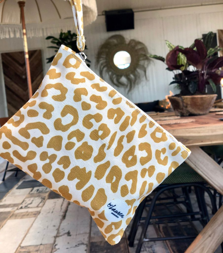 leopard only mustard clutch small