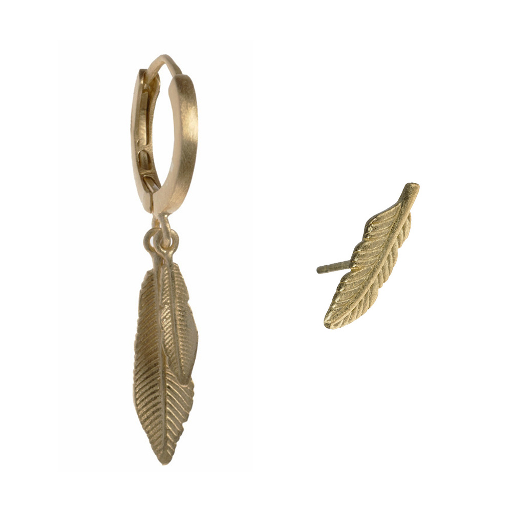 feather party oorbellen set goud