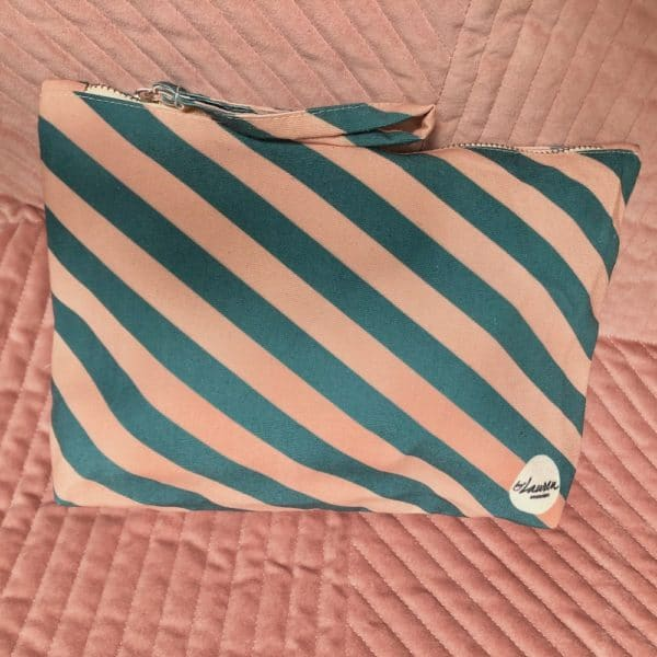 we are stripes green-pink clutch medium