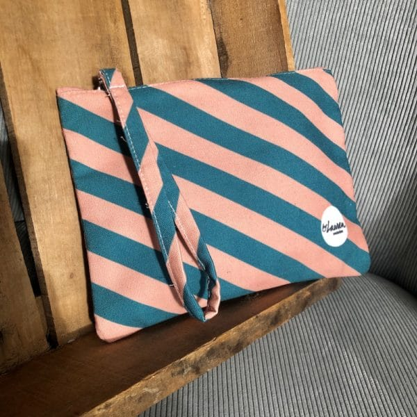 we are stripes green-pink clutch small