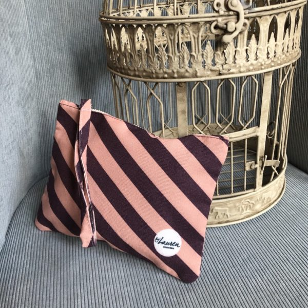 we are stripes burgundy-pink clutch small
