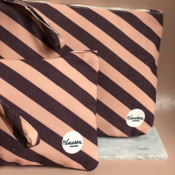 we are stripes burgundy-pink clutches