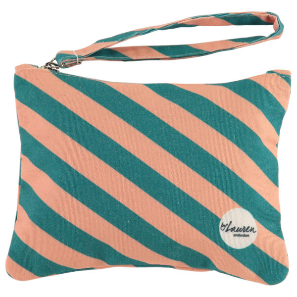 we are stripes green/pink clutch