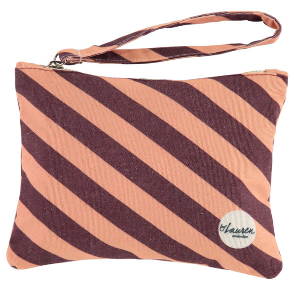 we are stripes burgundy/pink clutch