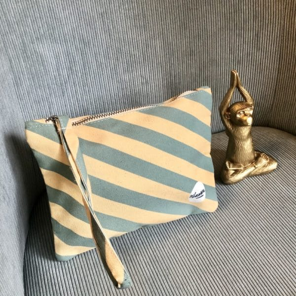 we are stripes yellow-mint clutch small