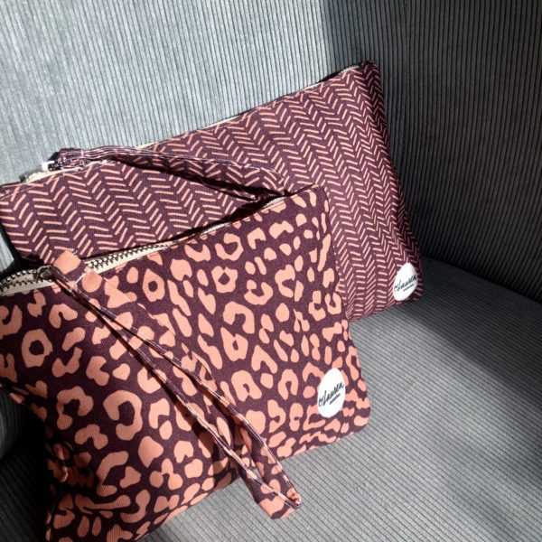 leopard only burgundy clutch small