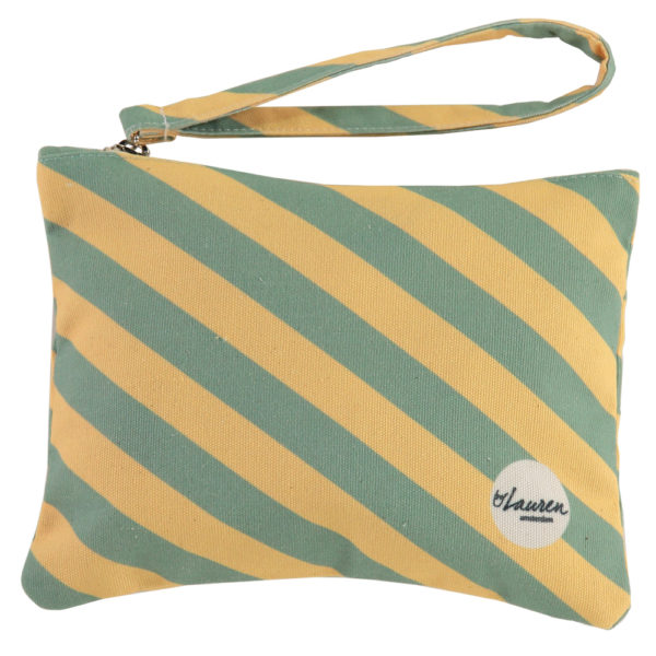 we are stripes yellow/mint clutch