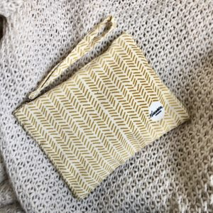 herringbone mustard clutch small