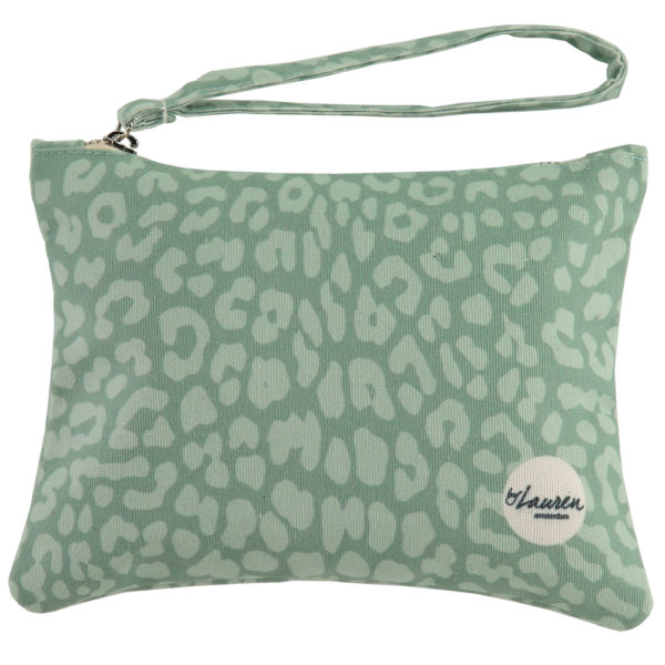 leopard only minty green clutch