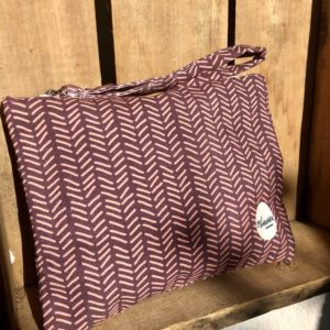 herringbone burgundy clutch small