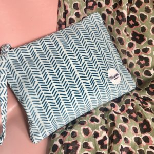 herringbone minty green clutch medium