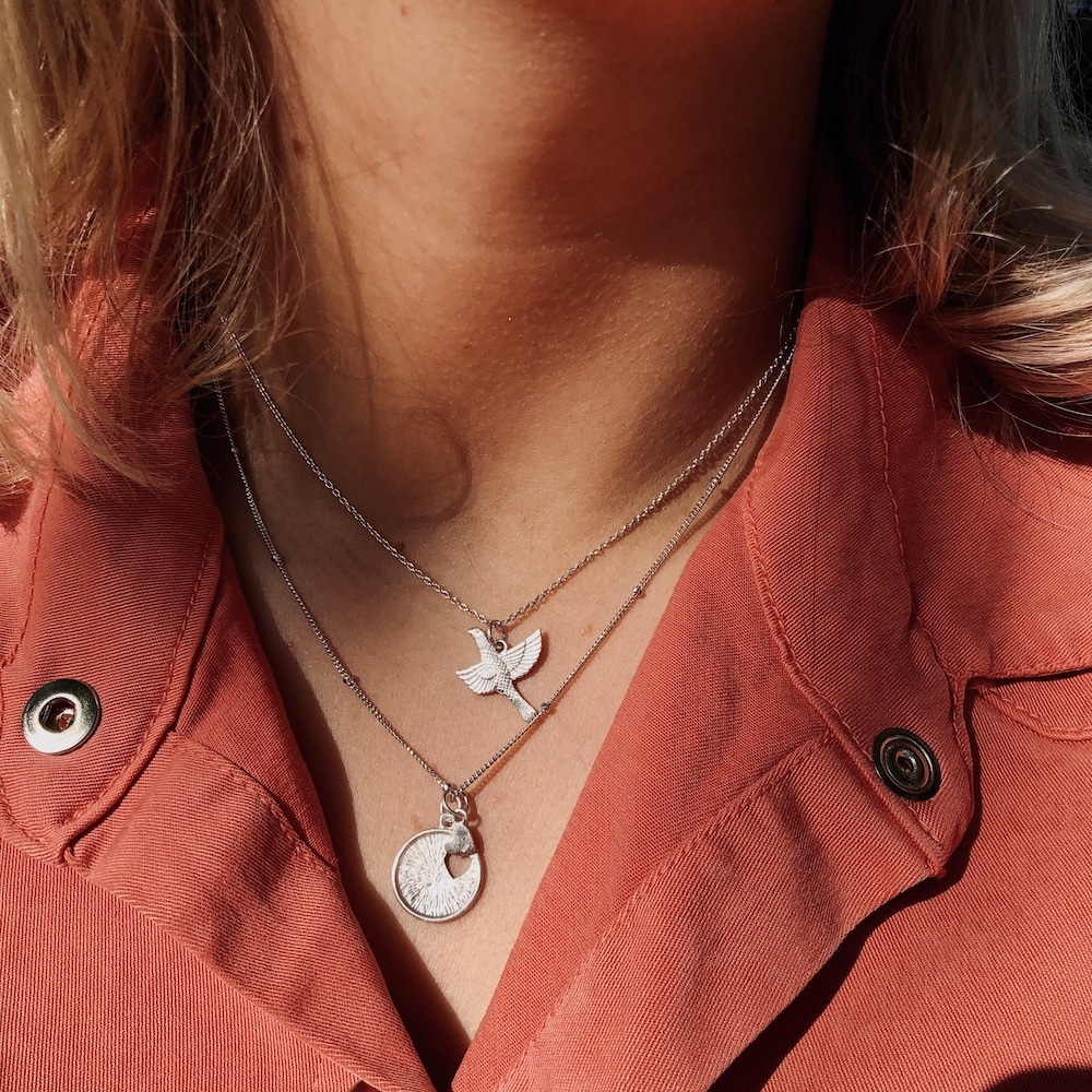 feel birdy classic - love to love satellite ketting zilver