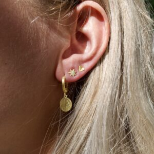 little coin hoops - sunshine lover studs - heartbeat mini studs oorbellen goud