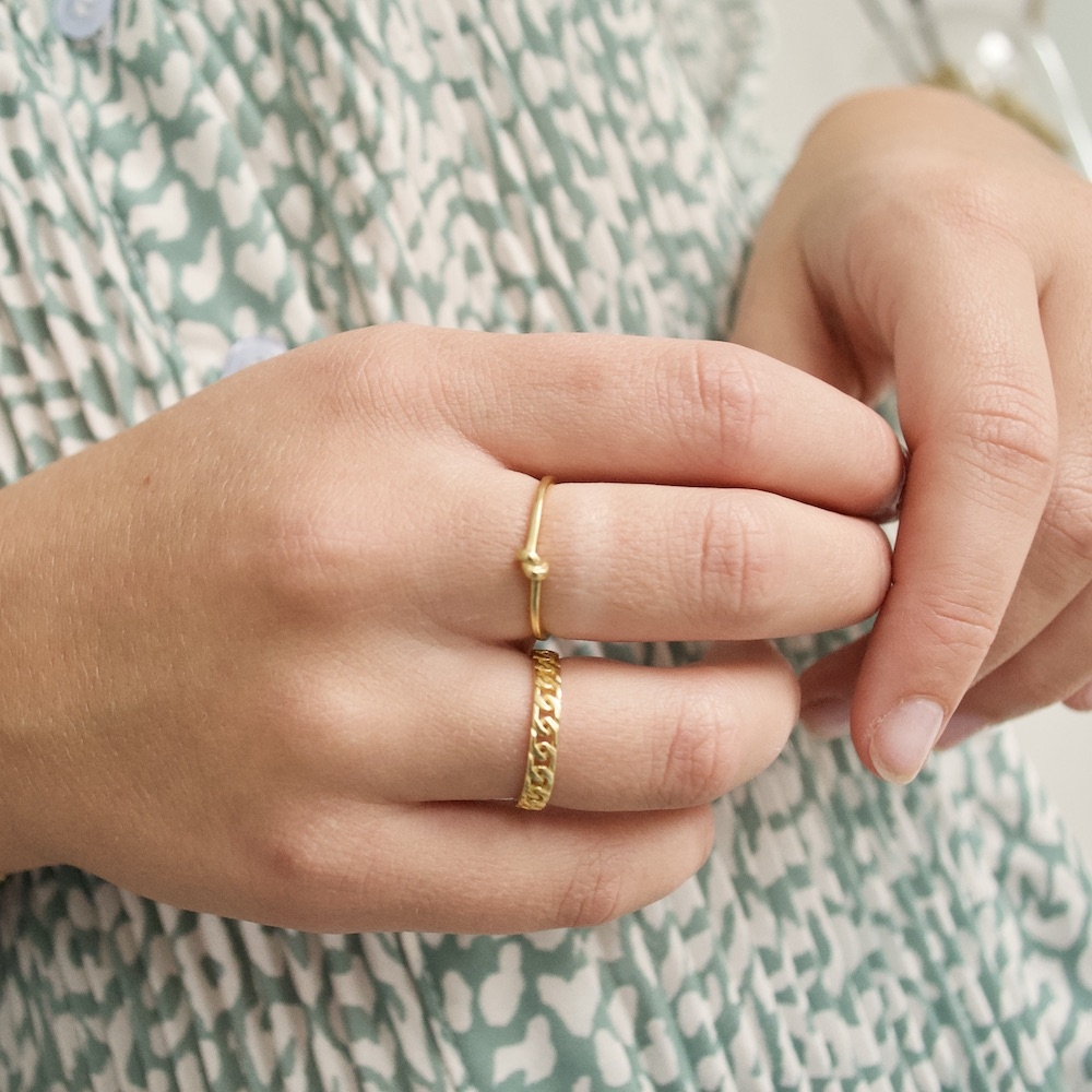 chunky chain - tied up ring goud