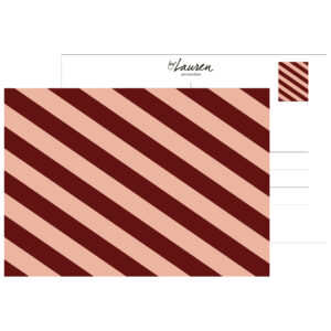 postcard we are stripes burgundy strepen