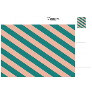 postcard we are stripes green pink strepen