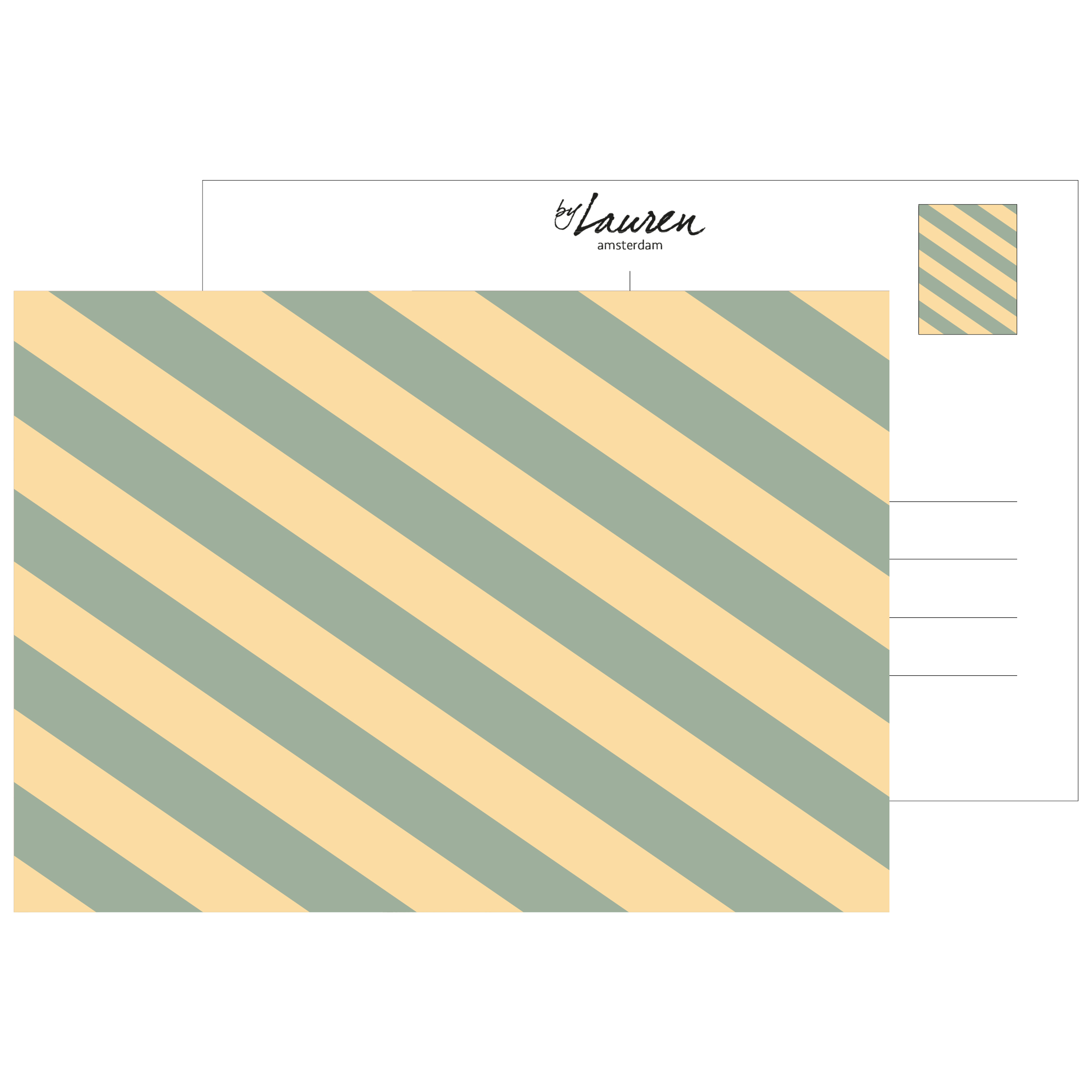postcard we are stripes sunny yellow strepen